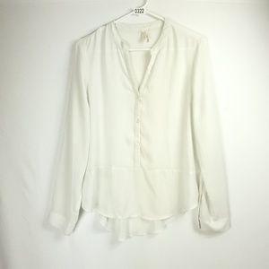 Frenchi White Button Hi-Low Blouse